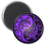 Purple and Black Yin Yang Geckos Fridge Magnet