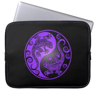 Purple and Black Yin Yang Geckos Laptop Sleeves