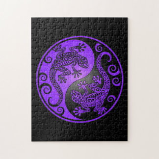 Purple and Black Yin Yang Geckos Jigsaw Puzzles