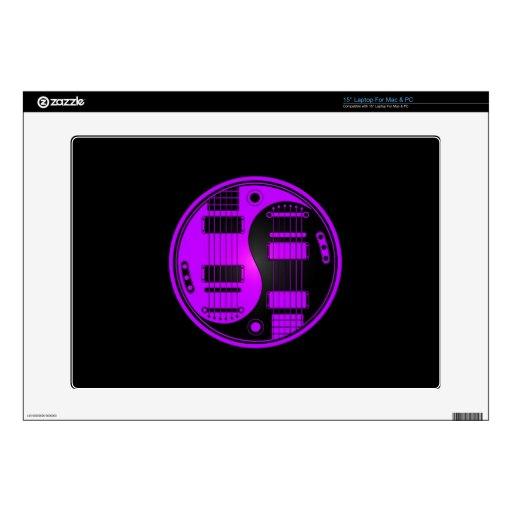 "Purple and Black Yin Yang Guitars 15"" Laptop Decals"