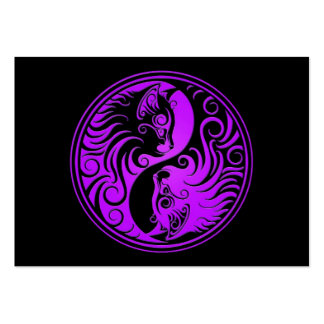 Purple and Black Yin Yang Kittens Business Card Template