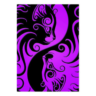 Purple and Black Yin Yang Kittens Business Cards