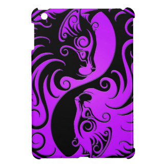 Purple and Black Yin Yang Kittens Case For The iPad Mini