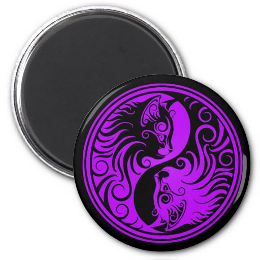Purple and Black Yin Yang Kittens Refrigerator Magnets