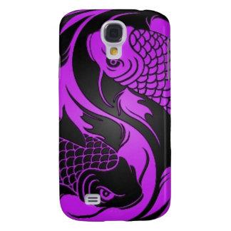 Purple and Black Yin Yang Koi Fish Samsung Galaxy S4 Covers