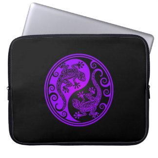 Purple and Black Yin Yang Lizards Laptop Sleeve
