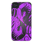 Purple and Black Yin Yang Phoenix iPhone 4 Cases