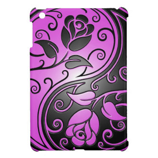 Purple and Black Yin Yang Roses Case For The iPad Mini