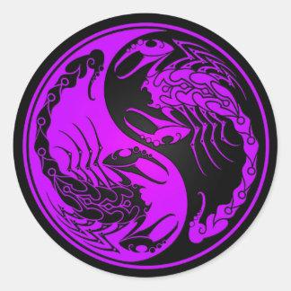 Purple and Black Yin Yang Scorpions Classic Round Sticker