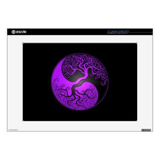 Purple and Black Yin Yang Tree Laptop Skin