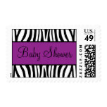 Purple and Black Zebra Baby Shower Postage