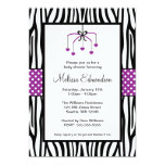"Purple and Black Zebra Heart Mobile Baby Shower 5"" X 7"" Invitation Card"