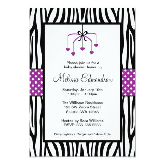 Purple and Black Zebra Heart Mobile Baby Shower 5x7 Paper Invitation Card
