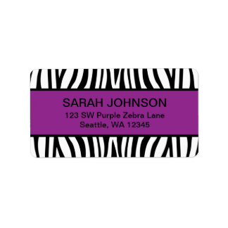Purple and Black Zebra Label