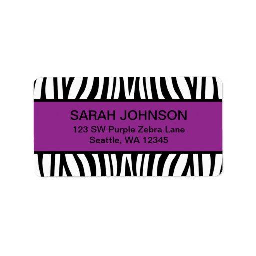 Purple and Black Zebra Label   Zazzle