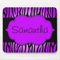 Purple and Black Zebra Personalized Mouse Pad