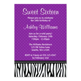 Purple and Black Zebra Polka Dot Sweet 16 Card