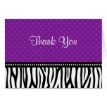 Purple and Black Zebra Polka Dot Thank You Stationery Note Card