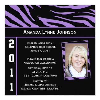 Purple and Black Zebra Print Graduation Invitation