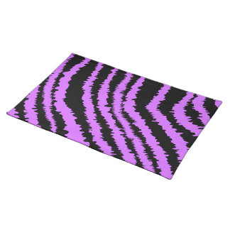 Purple and Black Zebra Print Pattern. Cloth Placemat