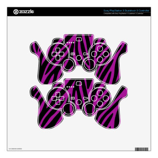 Purple and Black Zebra Print Skin For PS3 Controller