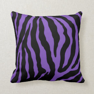 Purple and Black Zebra Print Striped Cotton Pillow
