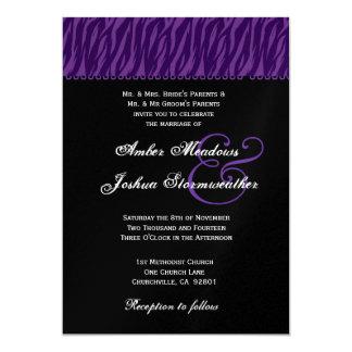 Purple and Black Zebra Print Wedding Metallic Custom Invites