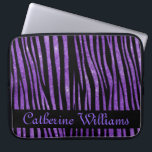 "Purple and Black Zebra Skin Pattern on Glitter Computer Sleeve<br><div class=""desc"">Purple glitter background with black zebra stripes and nameplate where you can add your customized name.</div>"