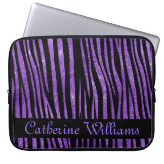 Purple and Black Zebra Skin Pattern on Glitter Computer Sleeve