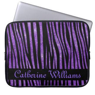 Purple and Black Zebra Skin Pattern on Glitter Laptop Sleeves