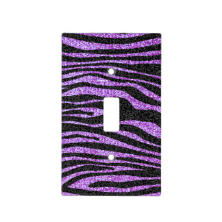 Purple and black Zebra stripe animal print Light Switch Plates