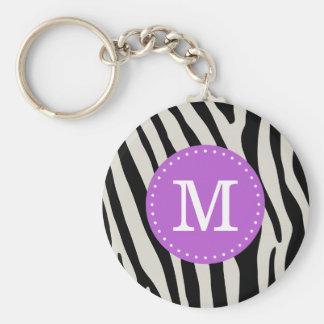 Purple and Black Zebra Stripe Custom Monogram Keychain