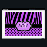 """Purple and Black Zebra Stripe Polka Dot Laptop 17&quot; Laptop Skins<br><div class=""""desc"""">This funky personalized purple and black zebra striped and polka dot pattern laptop skin has template boxes for you to personalize with your name, initials, monogram, or other text. ***PLEASE note that if you change the computer make and model that it MAY alter the design and part of it, or...</div>"""