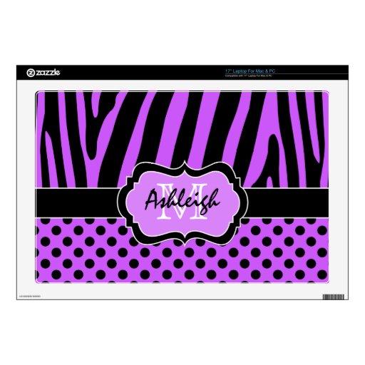 "Purple and Black Zebra Stripe Polka Dot Laptop Decals For 17"" Laptops"