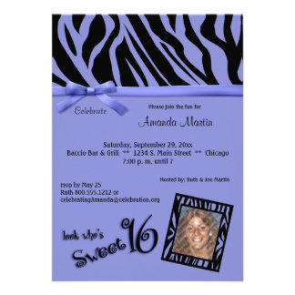 Purple And Black Zebra Stripes Sweet 16 Party Personalized Invitations