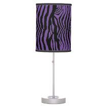 Purple and Black Zebra Stripes Table Lamp