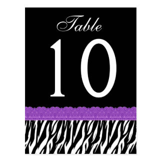 Purple and Black Zebra Table Number ver 01 Postcard