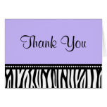 Purple and Black Zebra Thank You Greeting Cards