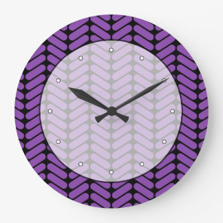 Purple and Black Zigzags Pattern. Large Clock