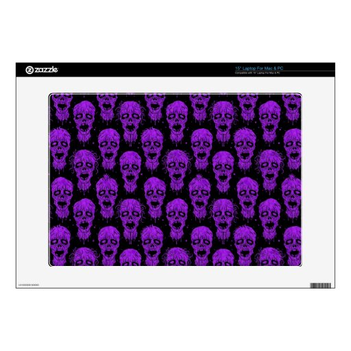 """Purple and Black Zombie Apocalypse Pattern Skins For 15"""" Laptops"""