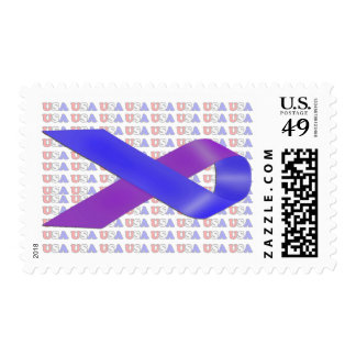 Purple and Blue Awareness Ribbon Postage