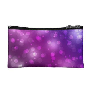 Purple and Blue Bokeh Makeup Bag