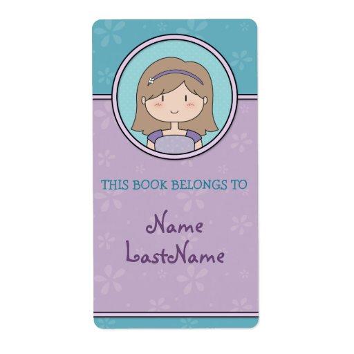 Purple and Blue Bookplates / cute cartoon girl Labels