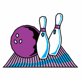 purple and blue bowling design standing photo sculpture