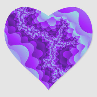 Purple And Blue Bubble Coral Fractal Design Heart Sticker