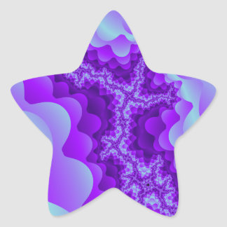 Purple And Blue Bubble Coral Fractal Design Star Sticker