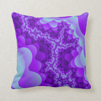 Purple And Blue Bubble Coral Fractal Design Throw Pillow