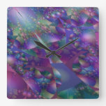 Purple And Blue Bubble Fractal Square Wall Clock at Zazzle