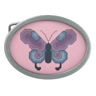 Purple and Blue Butterfly Belt Buckle