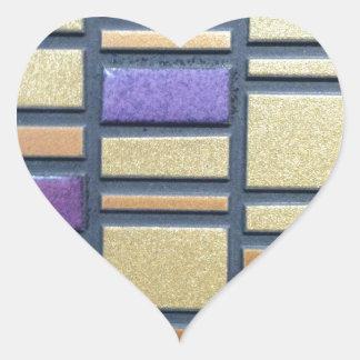 Purple and Blue Ceramic Tile Heart Sticker